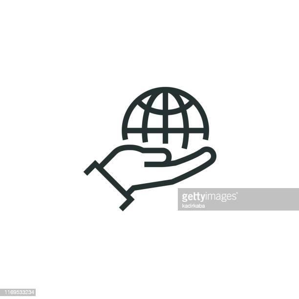 responsibility line icon - soziales thema stock-grafiken, -clipart, -cartoons und -symbole
