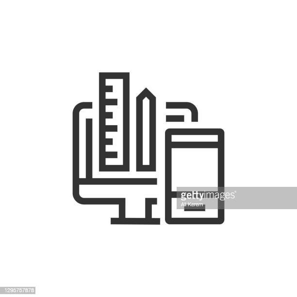 responsive design line icon - responsives webdesign stock-grafiken, -clipart, -cartoons und -symbole
