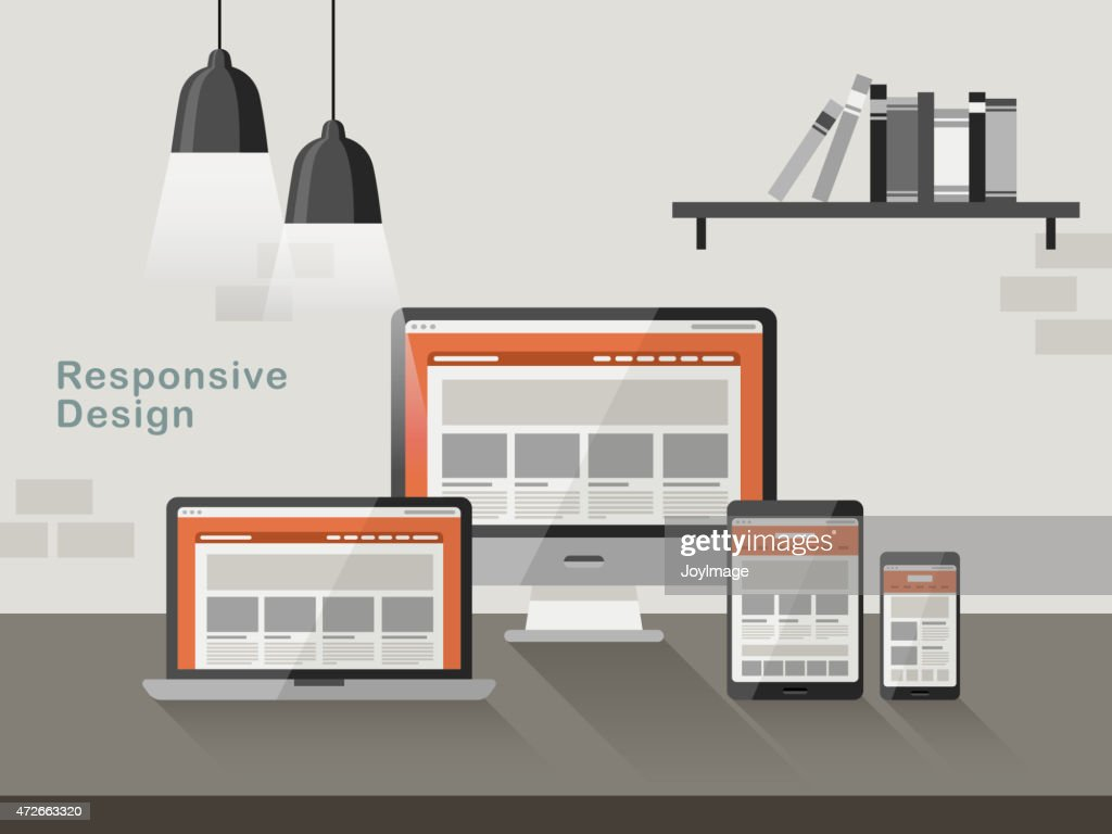 responsive design on different devices in flat design