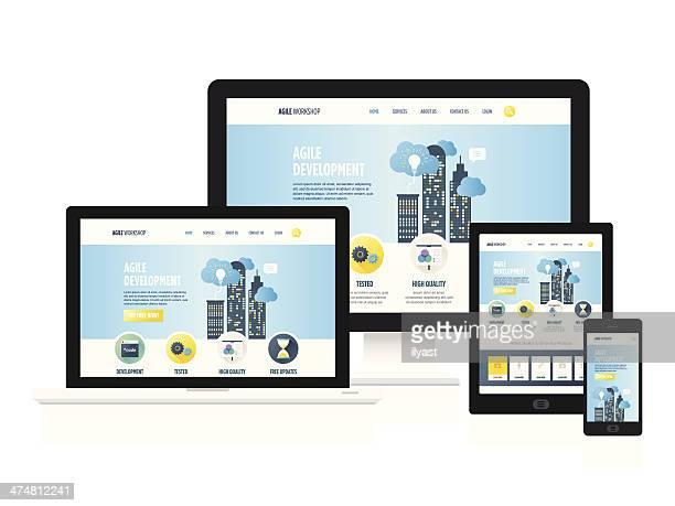 responsive design - ausrüstung und geräte stock-grafiken, -clipart, -cartoons und -symbole