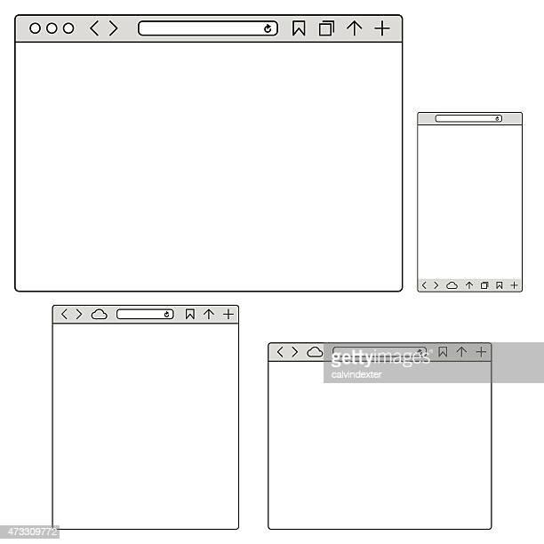 レスポンシブインターネットブラウザ mockups - ワイヤーフレーム作成点のイラスト素材/クリップアート素材/マンガ素材/アイコン素材