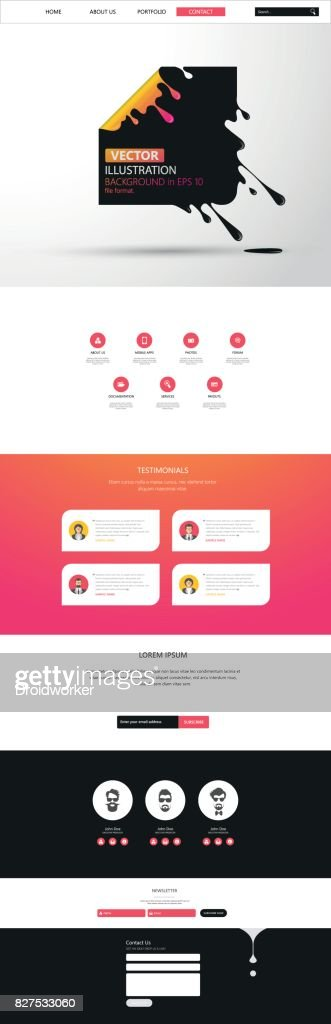 Responsive One Page Website Template With Header Design . Vector Website Wireframe Illustartion.