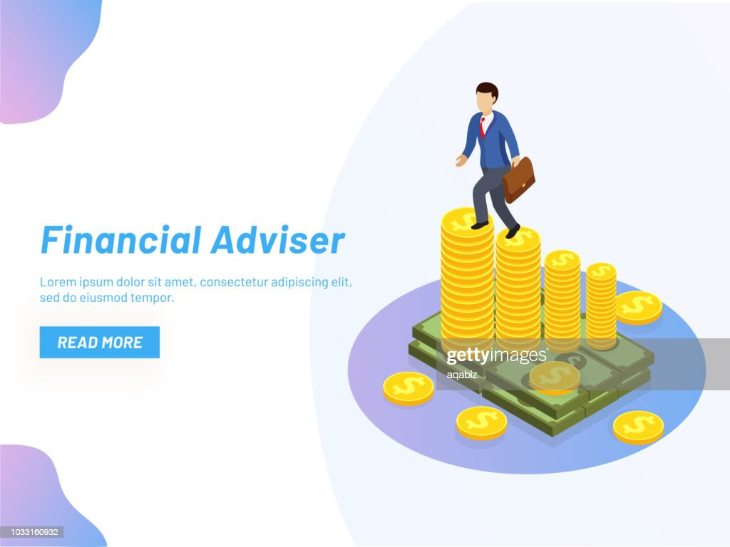 Responsive web banner design, Isometric illustration of businessman on coin stack graph, Financial Adviser or monetary solution concept.