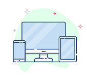 Responsive web design line vector illustration.