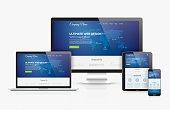Responsive web design template realistic vector devices concept