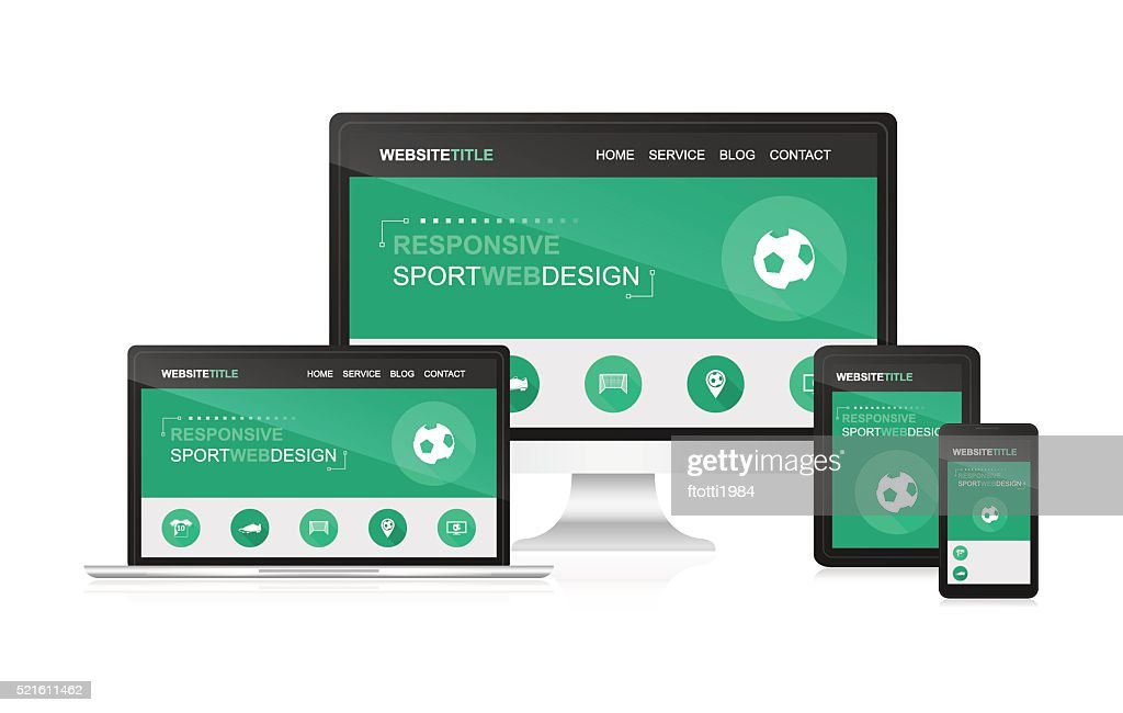 Responsive web design with sport theme.