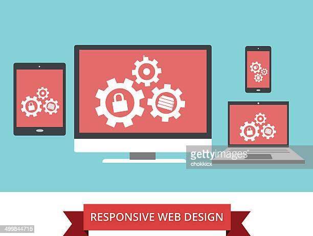 responsive website-design - responsives webdesign stock-grafiken, -clipart, -cartoons und -symbole