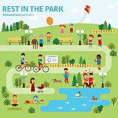 Rest in the park infographic elements