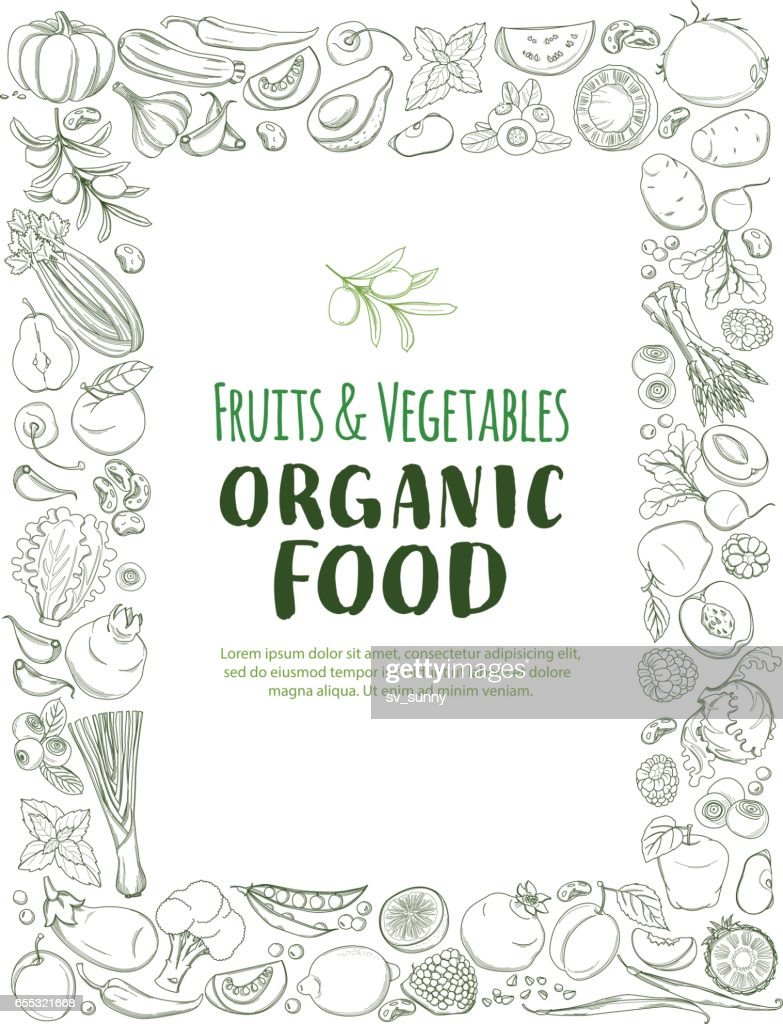 Restangle Frame border pattern organic farm fresh fruits and vegetables
