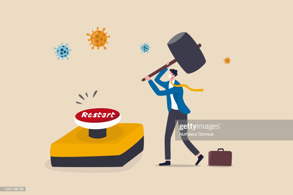 Restart business after Coronavirus COVID-19 lockdown, reopen company employee return to normal operation concept, businessman leader wearing face mask use huge hammer to hit emergency restart button. : stock illustration