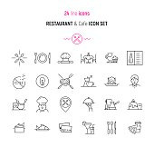 Restaurant and Cafe icon set