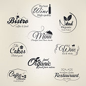 Restaurant and cafe labels. vector