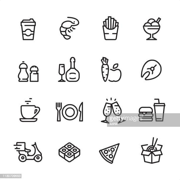 restaurant and fast food - outline icon set - pepper vegetable stock illustrations