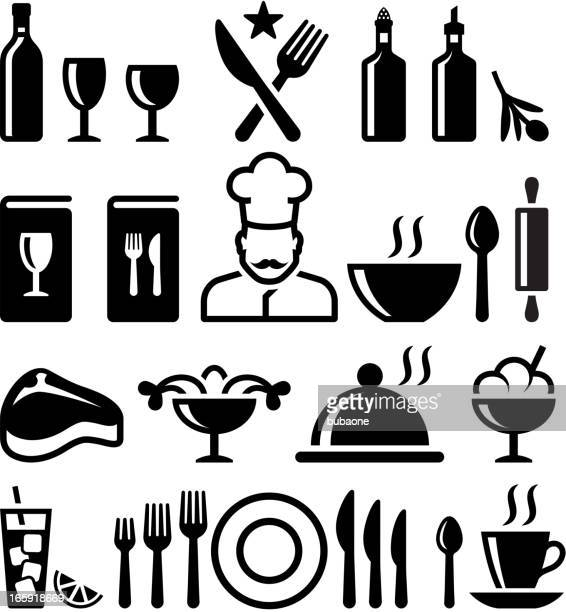 Restaurant and fine dining black & white vector icon set