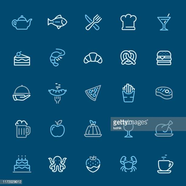 restaurant and food - color outline icons - panna cotta stock illustrations, clip art, cartoons, & icons