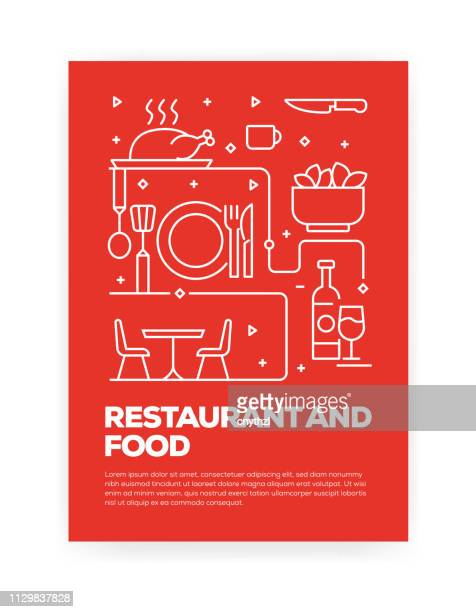 ilustrações, clipart, desenhos animados e ícones de restaurante e estilo de linha de conceito de comida design para anual relatório, flyer, folheto da capa. - comida e bebida
