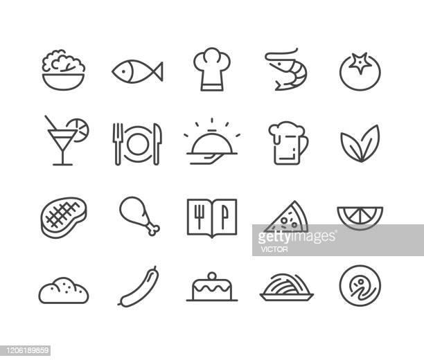 レストランと食品アイコン - クラシックラインシリーズ - エビ料理点のイラスト素材/クリップアート素材/マンガ素材/アイコン素材