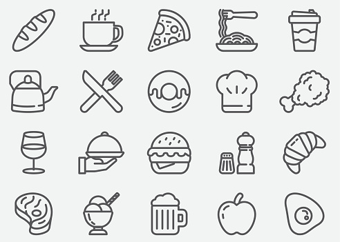 Restaurant and Food Line Icons - gettyimageskorea