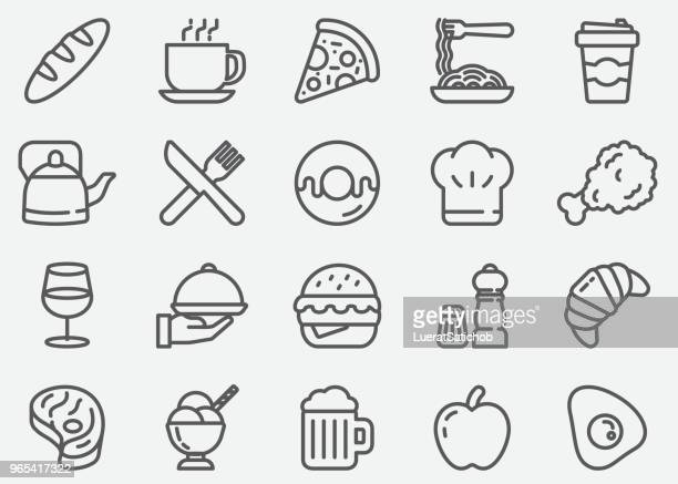 restaurant and food line icons - frozen food stock illustrations