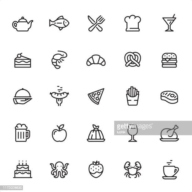 restaurant and food - outline icon set - panna cotta stock illustrations, clip art, cartoons, & icons