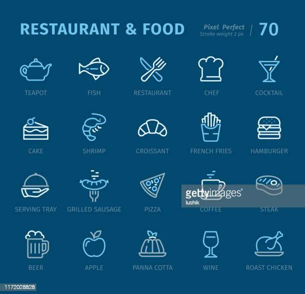 restaurant and food - outline icons with captions - panna cotta stock illustrations, clip art, cartoons, & icons
