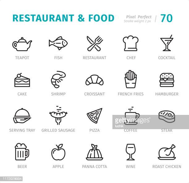 restaurant and food - pixel perfect line icons with captions - panna cotta stock illustrations, clip art, cartoons, & icons