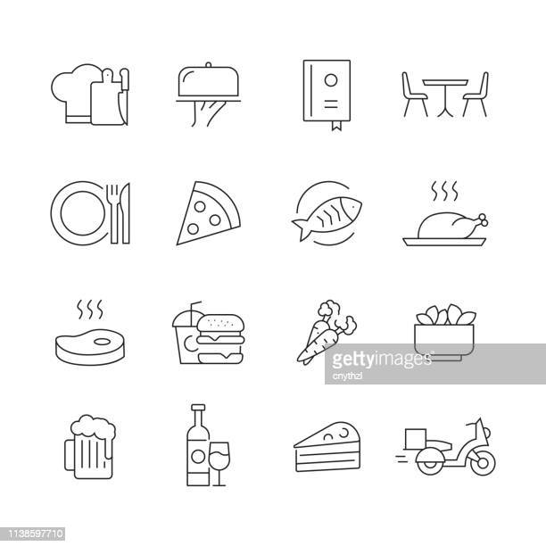 restaurant and food - set of thin line vector icons - steak plate stock illustrations, clip art, cartoons, & icons