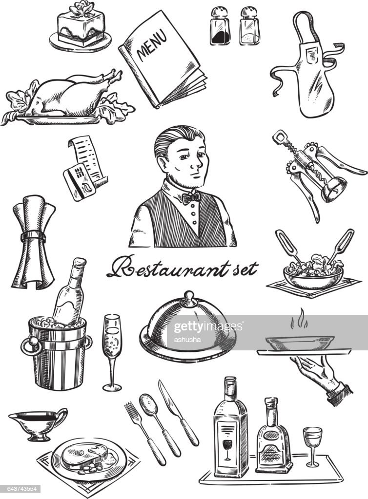 Restaurant and waiter set