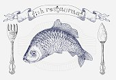 Restaurant banner with carp and cutlery