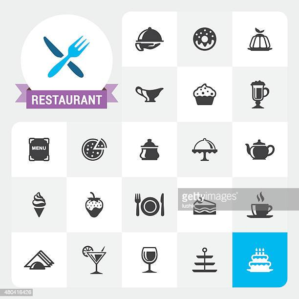 Restaurant base vector icons and label