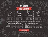 Restaurant BBQ steak menu design