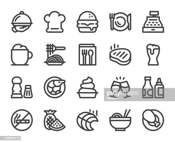 restaurant - bold line icons - savory food stock illustrations