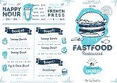 Restaurant cafe fast food menu template