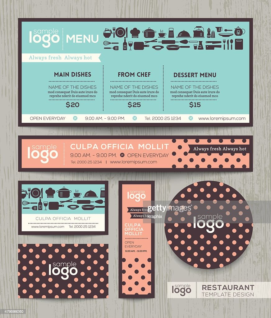 Restaurant cafe menu design template with pastel polka dot pattern