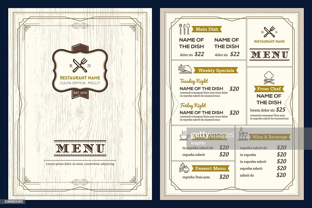 Restaurant cafe menu design template with vintage retro frame border