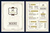 Restaurant cafe menu design template with vintage retro frame border
