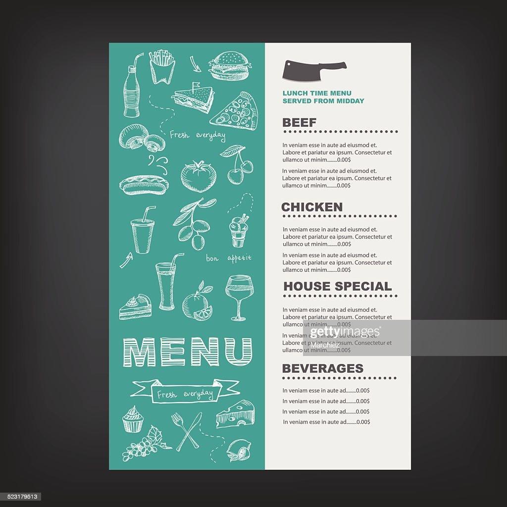 Restaurant cafe menu.