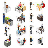 Restaurant Cafe or Bar Personnel People 3d Icons Set Isometric View. Vector