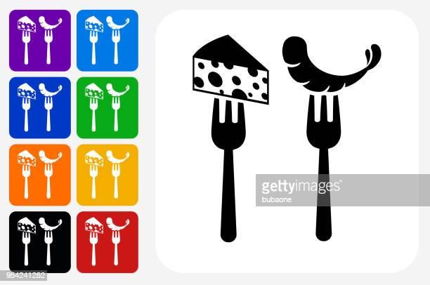 Restaurant-Käse und Garnelen Symbol Square Buttonset