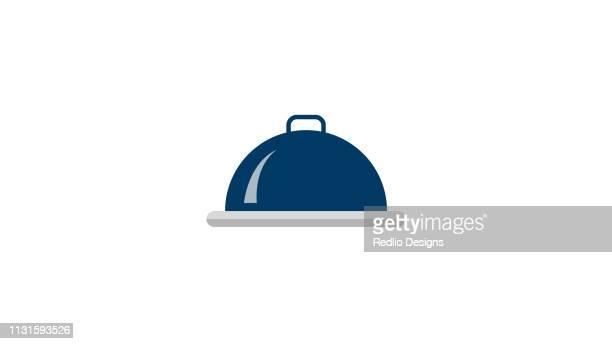 illustrations, cliparts, dessins animés et icônes de vecteur de cloche de restaurant, icône de plat couvrant de cloche - cloche