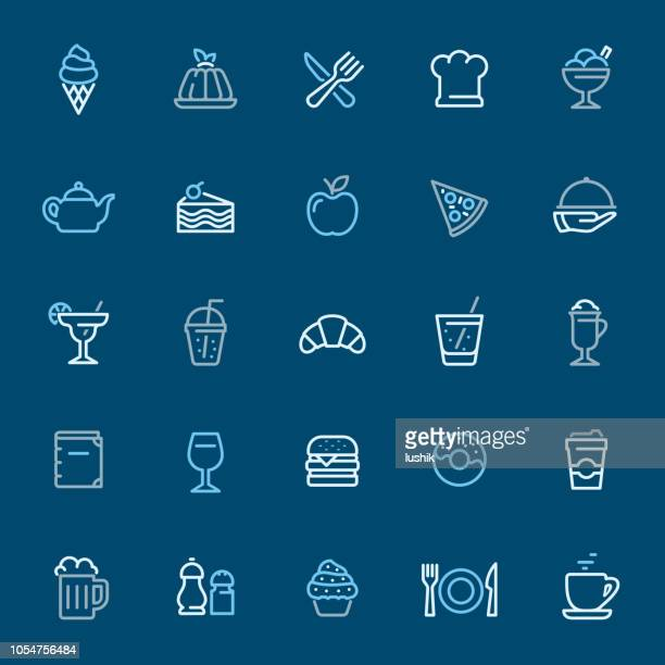 restaurant - color outline icons - gelatin dessert stock illustrations, clip art, cartoons, & icons
