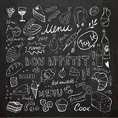 Restaurant Doodle Set. Hand Drawn Vector Illustration. Chalk Drawing. Bon Appetit Chalkboard Food Collection