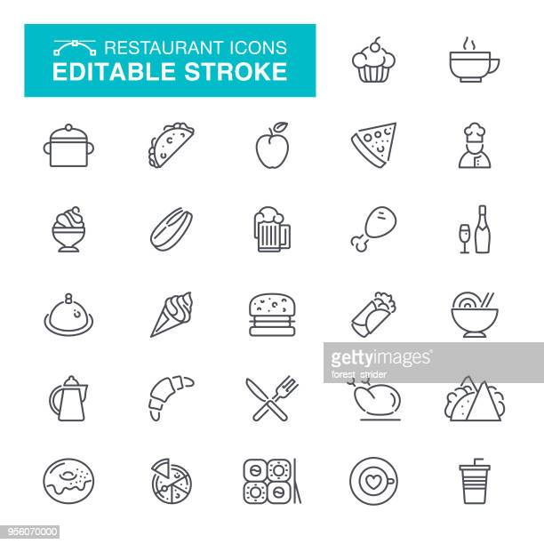 Restaurant Editable Stroke Icons