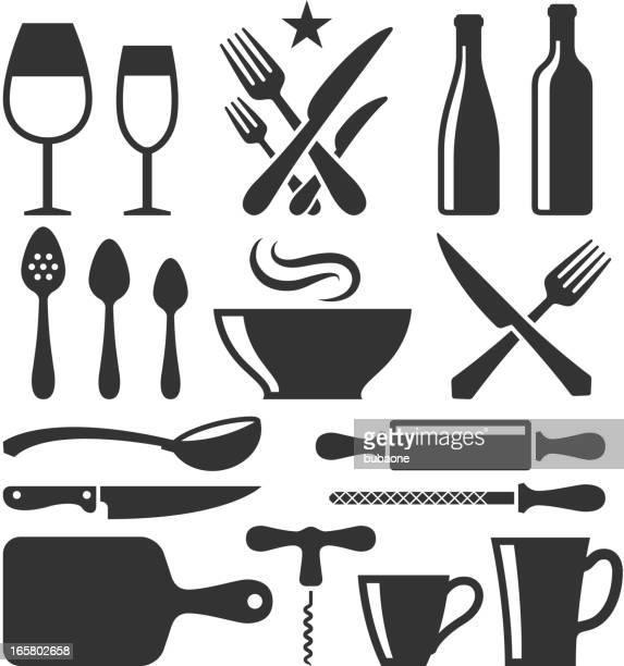 restaurant emblem and kitchen appliances black & white icon set - steam stock illustrations