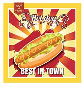 Restaurant Fast Foods menu hot dog on beautiful background vecto