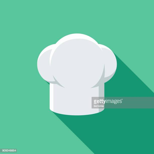 restaurant flat design chef's hat icon with side shadow - hat stock illustrations