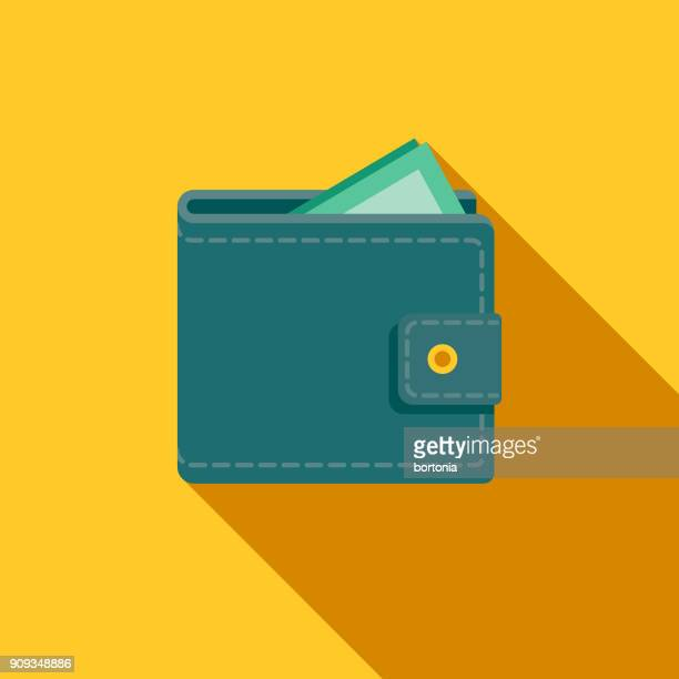 restaurant flat design wallet icon with side shadow - wallet stock illustrations