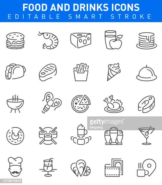 Restaurant Food and Drinks Icons. Editable stroke