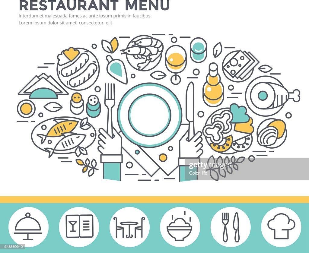 Restaurant food concept illustration.