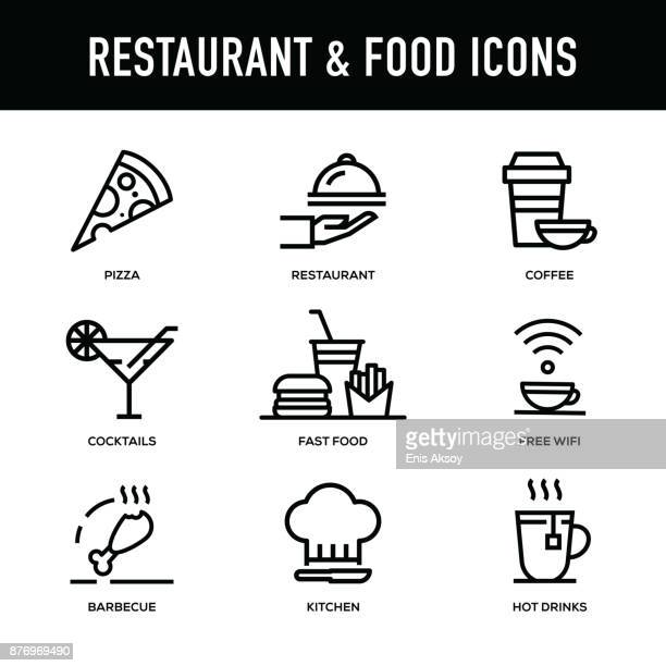 restaurant & food icon set - thick line series - thick stock illustrations